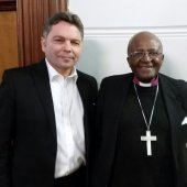 Rossin and Archbishop Desmond Tutu, civil rights and apartheid activist in Cape Town, South Africa.
