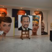 World renowned Ross Rossin artist's studio featuring images of Nefertiti, Audrey Hepburn and Sultan of Brunei