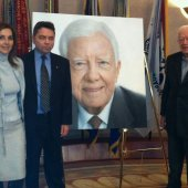 Ava and Ross Rossin with President Jimmy Carter, 2011. Unveiling of portrait for the Jimmy Carter Library and Museum, Atlanta